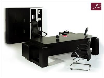 Designer Chef Schreibtisch Varese mit Aktenschrank Walnuss Schwarz