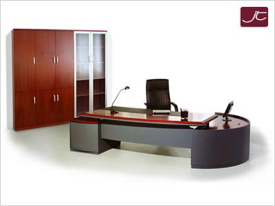 Designer Chef-Schreibtisch Bergamo mit Aktenschrank Walnuss